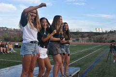ASB Students Cierra Healy, Madeleine Miyamoto, Hannah Campagna, and Morgan Mayorga all prepare for the last section of the class cup game